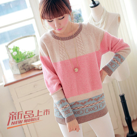 QW5801007 เสื้อกันหนาวเกาหลี ไหมถักลายสลับสี (พรีออเดอร์) รอ 3 อาทิตย์หลังโอนเงิน
