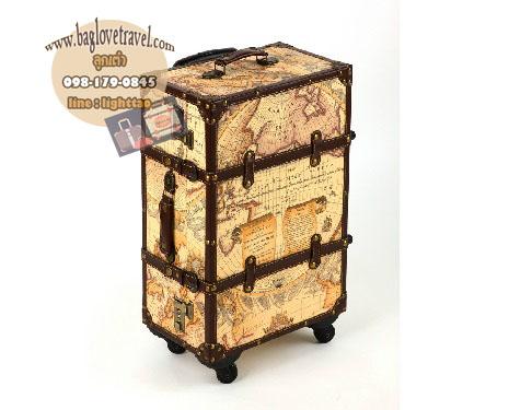 กระเป๋าเดินทางวินเทจรุ่น vintage classic ลายแผนที่ ขนาด 20 นิ้ว