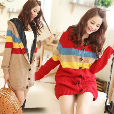 CW5706015 เสื้อกันหนาว ถักไหม กระเป๋าหน้า สไตร์ญี่ปุ่น อบอุ่นมาก