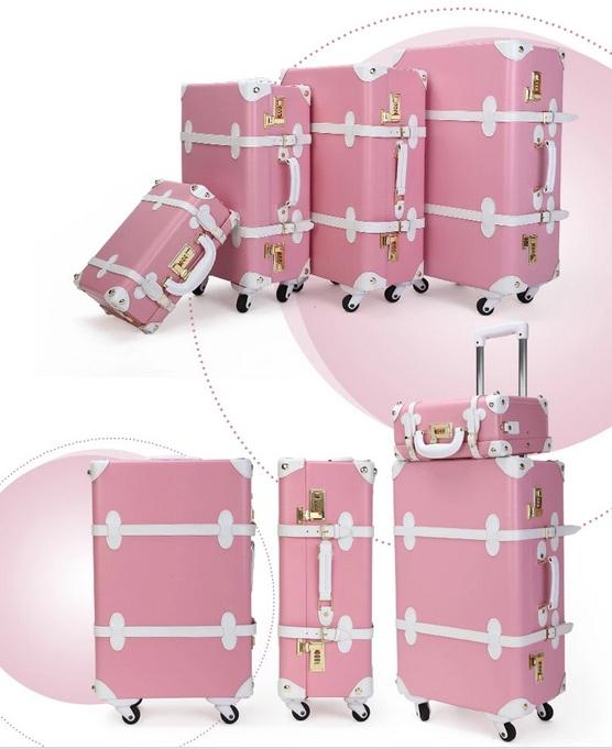 กระเป๋าเดินทางวินเทจ รุ่น spring colorful ชมพูคาดขาว ขนาด 24 นิ้ว