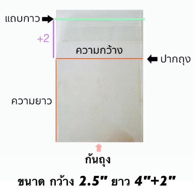 ถุงแก้วแถบกาว 1/2 โล ขนาด 2.5*4+2 นิ้ว ประมาณ 560ใบ