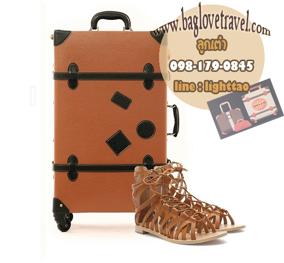 กระเป๋าเดินทางวินเทจ รุ่น retro brown น้ำตาลคาดดำ ขนาด 20 นิ้ว
