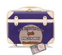 กระเป๋าเดินทางวินเทจ รุ่น colorful น้ำเงินเข้มคาดชมพูอ่อน ขนาด 12 นิ้ว