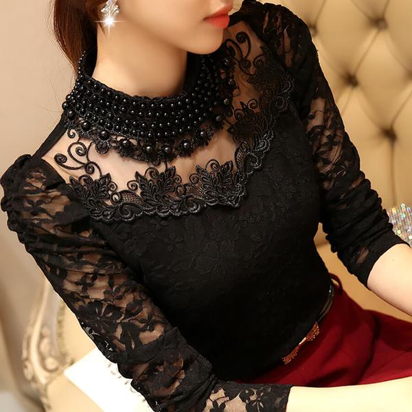 RP5911004 เสื้อลูกไม้สีขาว สีดำเกาหลีสวยหวาน คอเต่าแขนยาว (พรีออเดอร์)