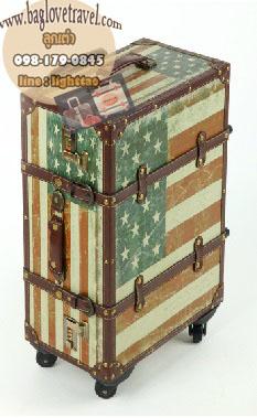 กระเป๋าเดินทางวินเทจ รุ่น vintage classic ลายธงชาติอเมริกา ขนาด 20 นิ้ว