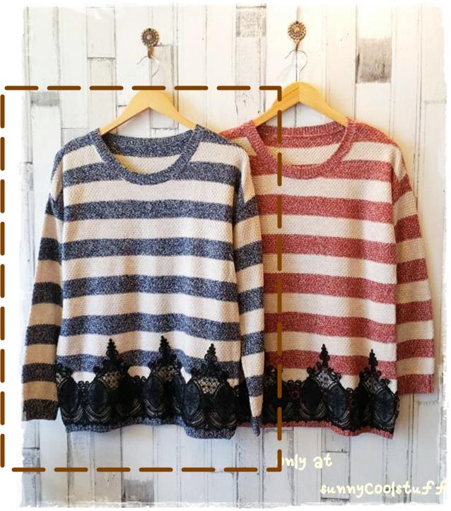 เสื้อไหมพรมกันหนาว สไตล์ญี่ปุ่น ลายริ้ว สีกรมท่า แต่งชายลูกไม้สีดำ