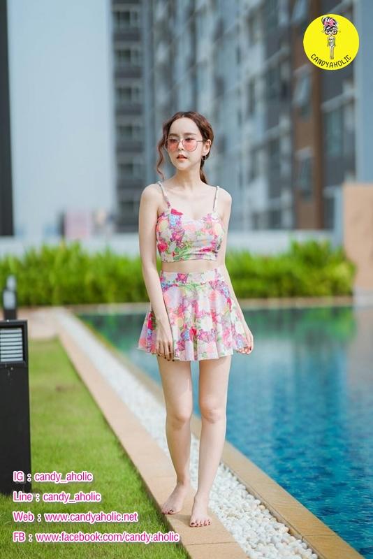 [Free size] ชุดว่ายน้ำทูพีชสายเดี่ยว รุ่น My Dear สีชมพูลายดอก