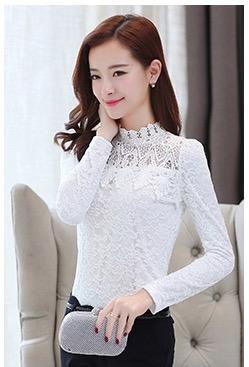 RP5911047 เสื้อลูกไม้เกาหลีสวยหวาน คอสูงแขนยาวฤดูใบไม้ร่วงและฤดูหนาว (พรีออเดอร์)