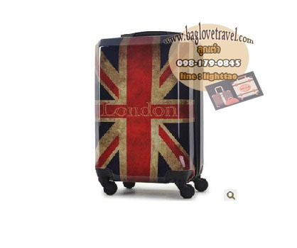 กระเป๋าเดินทางแฟชั่น แนวๆ ลายธงชาติอังกฤษสีซีด ขนาด 23 นิ้ว
