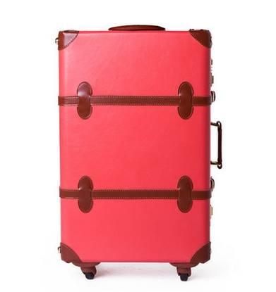กระเป๋าเดินทางวินเทจ รุ่น spring colorful ชมพูเชอร์เบทคาดน้ำตาล ขนาด 24 นิ้ว
