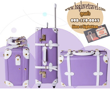 กระเป๋าเดินทางวินเทจ รุ่น spring colorful ม่วงคาดขาว ขนาด 20 นิ้ว