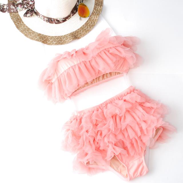 (Size S,M) ชุดว่ายน้ำทูพีช สีส้มอ่อน ระบายริ้วทั้งชิ้น กางเกงเอวสูง ระบายริ้วทั้งชิ้น