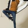 CW5911008 เสื้อโค้ทสไตร์แจ๊กเก็ตกันหนาวสีดำซับในขนแกะขาวบริสุทธิ์ มีฮูด