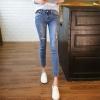 JW6105002 กางเกงยีนส์สาวเกาหลี เอวกลางทำขาดเซอร์