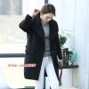 CW6107006 เสื้อโค้ทเกาหลีตัวยาวผ้าผสมขนสัตว์ฤดูหนาว สีดำอุ่นมากตัวยาว