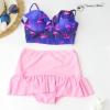 (free size) ชุดว่ายน้ำ ทูพีช บราแบบใหม่มาพร้อมโครงเหล็กช่วยให้กระชับและดันทรง สีน้ำเงินลาย นกฟลามิงโก้ ชุดว่ายน้ำ-corset05