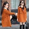 CW6107004 เสื้อโค้ทเกาหลีตัวยาวผ้าผสมขนสัตว์ฤดูใบไม้ร่วงและฤดูหนาว