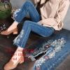 JW6105007 กางเกงยีนส์สาวเกาหลีเอวสูงขาม้า ขากระดิ่งปักดอกไม้หวานปลายขาเซอร์