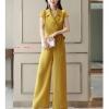 UP6107001 เสื้อชุดกางเกงสูทผู้หญิงปกสูทสีเหลืองแดงดำสาวทำงานแฟชั่นเกาหลี