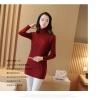 QW6010001 เสื้อไหมพรมถักกันหนาวคอเต่าสีน้ำตาลเข้มแขนยาว (พร้อมส่ง)