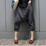 กางเกงเป้ายาวผ้าลินินเนื้อนิ่มกระดุมหลอกหน้า สีเทาดำ