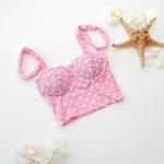 (free size) ชุดว่ายน้ำ บราสีชมพูลายจุด บราเป็นแบบสวมเต็มตัวไม่โป้