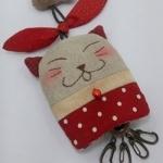 พวงกุญแจ key cover แมวสีแดง