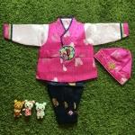 Premium Hanbok Boy ฮันบกผ้าไหมสีชมพูครบเซต เด็กชาย 2ขวบ