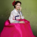 "Hanbok เกรด A+++ ฮันบกผ้าไหมเกาหลี แขนสลับสีเงิน ""อก 40"""