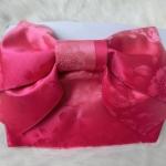 Cerise Obi โอบิสำเร็จรูปสีเชอรี่ ลายซากูระในเนื้อผ้า (สินค้าราคาพิเศษ มีตำหนิค่ะ)