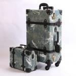 กระเป๋าเดินทางวินเทจ รุ่น เรโทรยีนส์ สีฟ้าเขียว