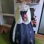 "Hanbok เขียวคลาสสิค อก 34"" สูง 168"
