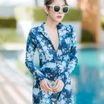 [Size M, L, XL] ชุดว่ายน้ำวันพีชขาสั้นซิปหน้า ลายดอกสีฟ้า