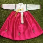 Hanbok Girl ฮันบกผ้าไหมสีหวาน สำหรับเด็ก 5 ขวบ