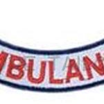 อาร์ม AMBULANCE (โค้งหงาย) ขอบน้ำเงิน ตัวอักษรแดง