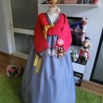 """Hanbok สีแดงปักมือดิ้นเงิน อก 40"""" สูง 160"""