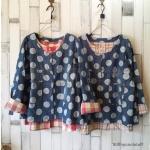 เสื้อสไตล์ญี่ปุ่น 2 ชิ้น ผ้ายีนส์ลายวงกลม