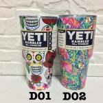 YETI Rambler แก้วเก็บความเย็น เก็บน้ำแข็ง 30 oz Model D แถมมือจับและหลอดโค้ง 1 อัน