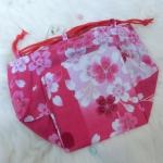 ๋Japanese Hand Bag กระเป๋าคล้องแขนญี่ปุ่น สีชมพูลายดอกซากูระ