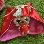 Hanbok hat หมวกฮันบกผ้าไหมแบบปิดหูสีแดง สำหรับเด็กเล็ก 1-2 ขวบ