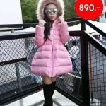 WT52-Pink เสื้อโค้ทกันหนาวเด็กสีชมพู บุใยสังเคราะห์อย่างหนา มีฮูดขนเฟอร์ งาน Hi-End+ กันหนาว&กันลม