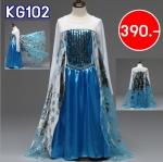 KG102 ชุดเจ้าหญิงเอลซ่า แขนสีขาว ผ้าคลุมมินเลเนี่ยมสีเงิน ผ้านิ่ม งานดี