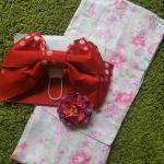 Summer kimono กิโมโนฤดูร้อน (Yukata) Spring Summer สีชมพูพิมพ์ทอง