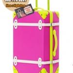 กระเป๋าเดินทางวินเทจ รุ่น colorful ชมพูคาดเขียว ขนาด 24 นิ้ว