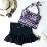 (free size) ชุดว่ายน้ำ ทูพีช ลายคลื่นหลากสี บราเป็นแบบสวมเต็มตัวไม่โป้ กระโปรงดำ