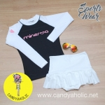 [Size S,M] ชุดว่ายน้ำ แขนยาว รุ่น Minerva (สีดำแขนสีขาว) และ กระโปรงระบายล่าง
