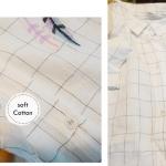 เสื้อผ้าฝ้ายคอเชิ้ตปกเล็ก สีขาว