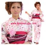 Summer kimono กิโมโนฤดูร้อน (Yukata) Spring Flower ซากูระสีชมพู รุ่น 3 เซต 6 ชิ้น