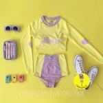 [Size S,M] Birkin ชุดว่ายน้ำแขนยาว แนว Sport สีเหลือง