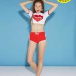 (Size S,M) ชุดว่ายน้ำ แขนสั้น darling สีขาว,แดง